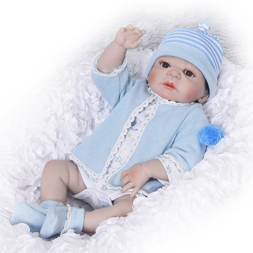 Silicone Full Body Reborn Dolls 23'' Realistic Handmade Baby Dolls Boy Fashion Kids Toy Waterproof Boneca Model Birthday Gifts full silicone reborn dolls