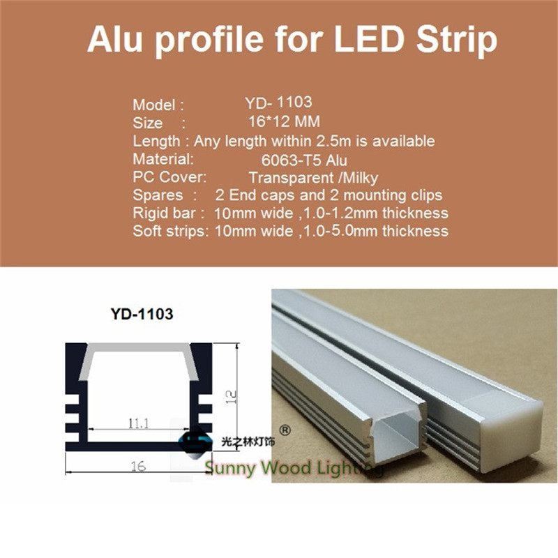 10pcs / lot 40-tommers ledet aluminium profil for 8-11mm PCB bord, - LED-belysning - Bilde 2