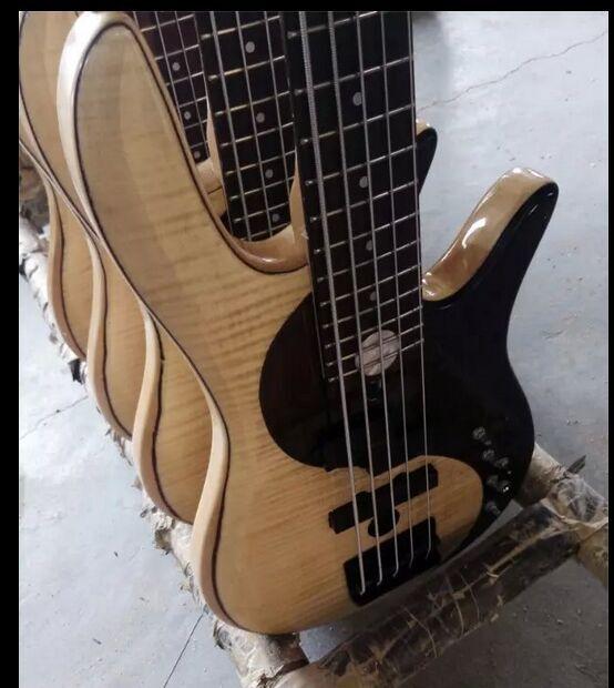 Пламя клен микс с палисандр активная 5 струнная бас гитара