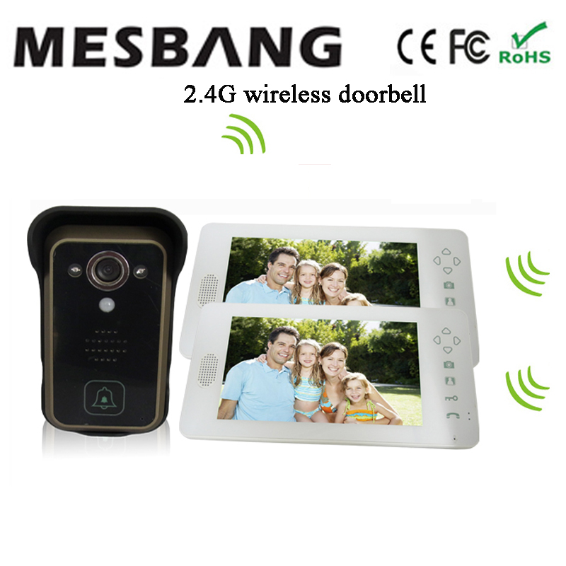 2016 new  white color 2.4G wireless video doorbell with camera intercom  one camera two  7 inch monitor  free shipping door wireless with monitor