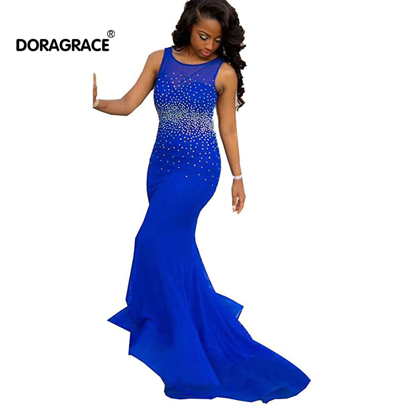 Doragrace robe de soiree Backless Prom Dresses Royal Blue Evening Gowns Mermaid