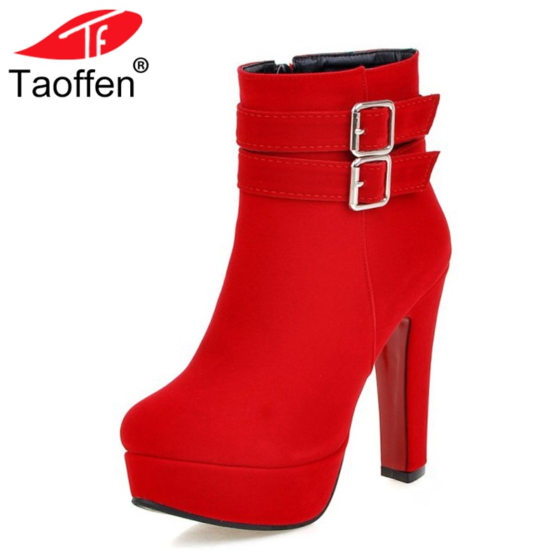 drfargo genuine leather shoes women zipper boots winter spring warm round toe plus big size 34 44 femme chaussure mujer zapatos TAOFFEN Size 30-48 Women High Heel Boots Zipper Winter Warm Round Toe Shoes Woman'S Square Heel Platform Footwear Zapatos Mujer