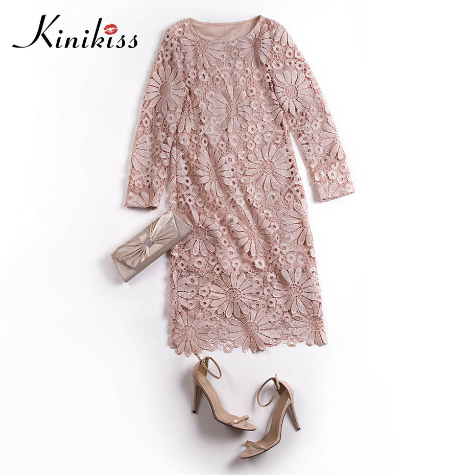 Kinikiss women lace dress sexy bodycon slim hollow out round neck midi dress fashion appliques apricot patchwork elegant dress