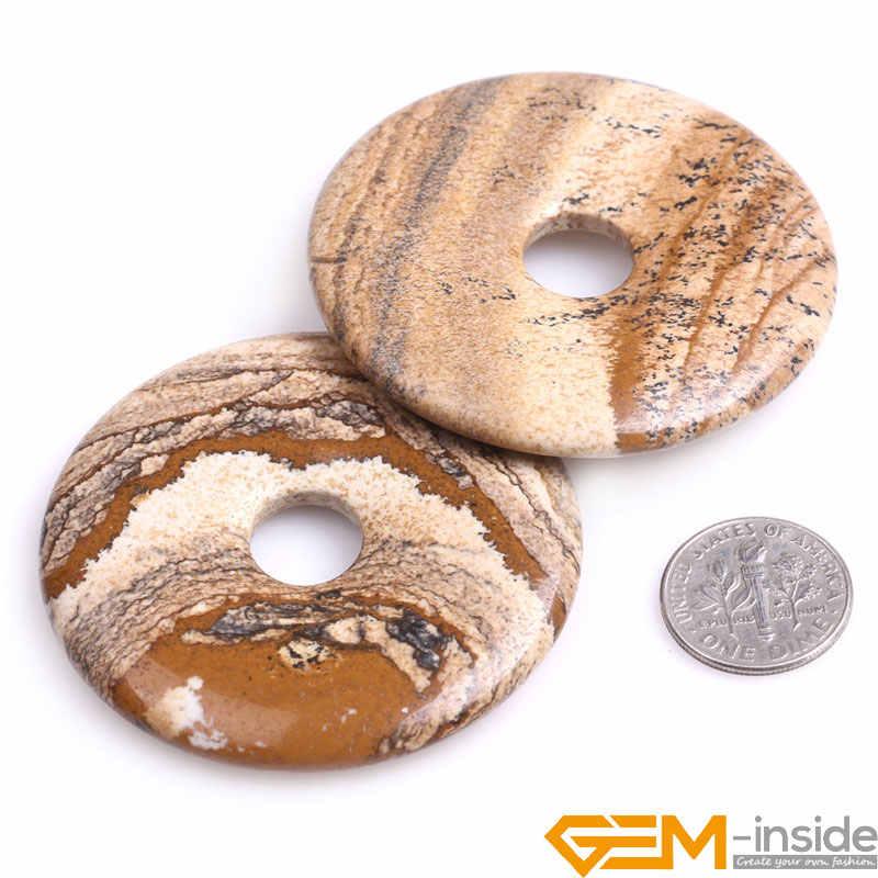 Natural Pedras Sortidas Donut Anel Beads Para Fazer Jóias Brinco Colar Pedaço Rose Quartzs 1 Jaspers Jades Fluorite