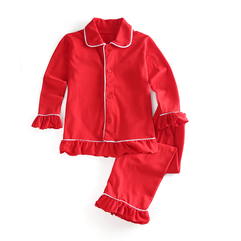 100% algodão meninos e meninas pijamas cor lisa família correspondência crianças natal plissado crianças botão acima pijamas
