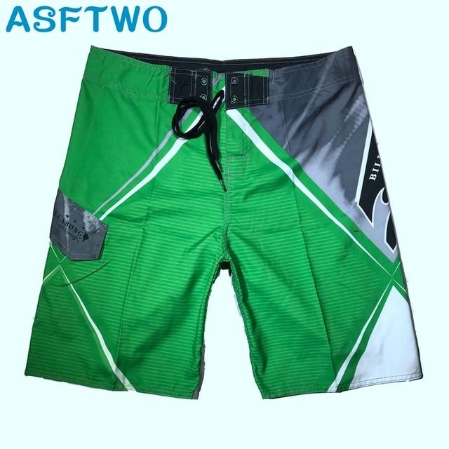 ASFTWO Quick Dry Troncos Masculino Tecido Elástico Calças Surf Board Shorts Mens Praia Bermuda Nadar Shorts do Desgaste XXL
