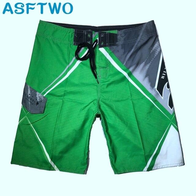 ASFTWO Quick Dry Trunks Male Elastic Fabric Surf Board Shorts Mens Bermuda Beach Pants Swim Wear Shorts XXL