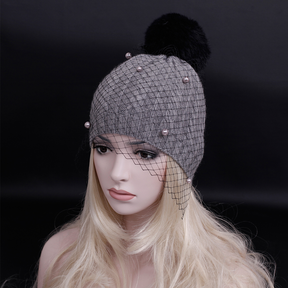 2016 New supermodel veil street snap net yarn knitted cap Autumn winter head wool knitted hat ladies personality Retro mesh hats