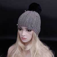 2016 New Supermodel Veil Street Snap Net Yarn Knitted Cap Autumn Winter Head Wool Knitted Hat