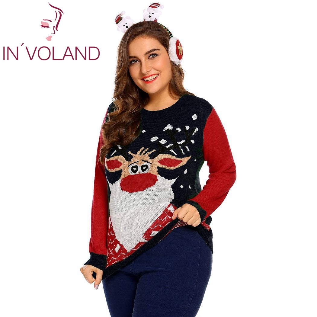 IN VOLAND Plus Size L-4XL Women Christmas Sweater Tops Autumn Winter Large  Pullovers Casual Long Sleeve Printed Sweater Big Size d046e8737fda
