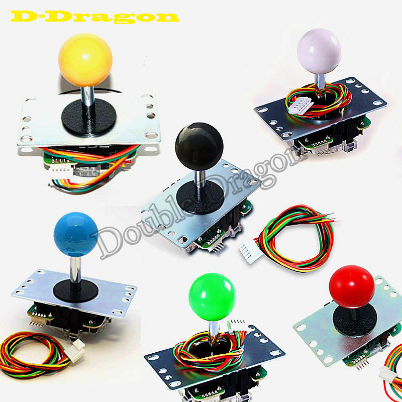 8Pcs Official Original Sanwa JLF TP 8YT Joystick with 5 Pin Wiring Harness for Arcade Game