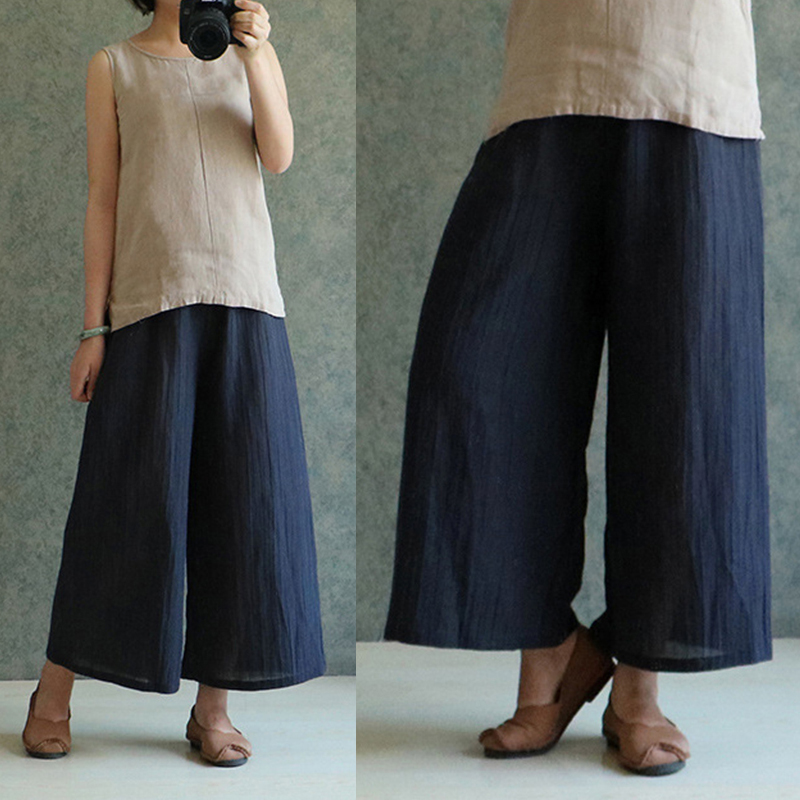 Celmia 2019 Summer Autumn Casual Loose Long Trousers Baggy Pantalon Womens Elastic Waist Retro Linen   Wide     Leg     Pants   Plus Size