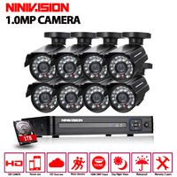 720P HD 1 0MP Outdoor Security Camera System 1080P HDMI CCTV Video Surveillance 8CH DVR Kit