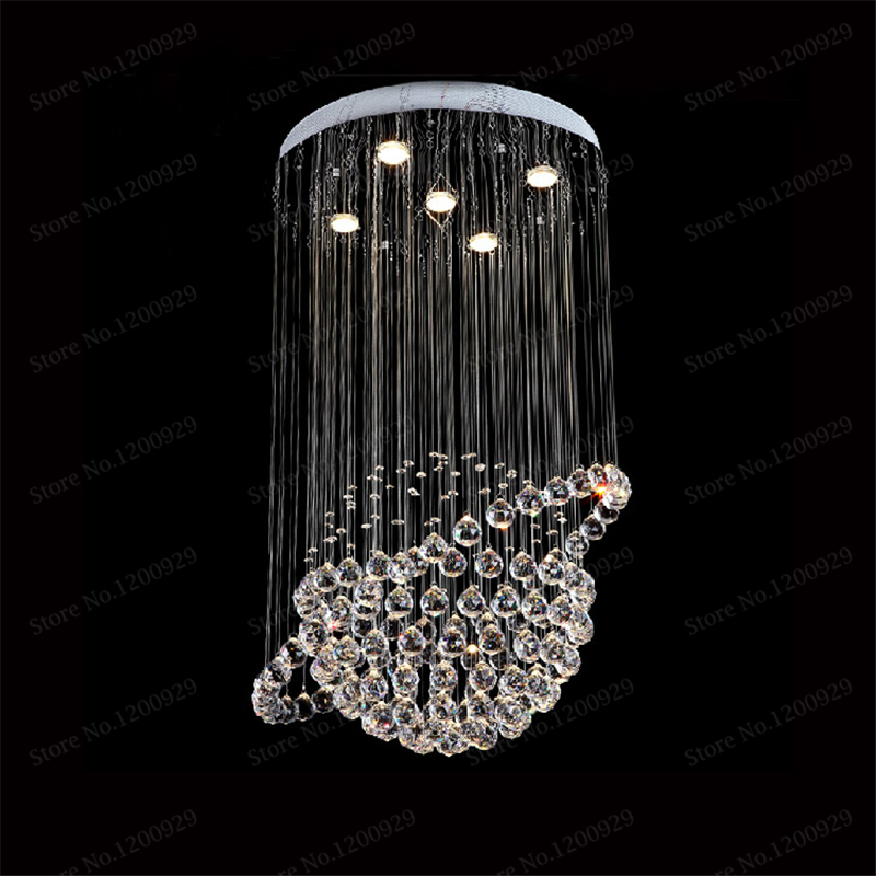 Luxury Modern K9 Large LED Living Room Crystal Chandeliers Light Fixtures for Staircase Stair Lamps with Stainless Steel Plate