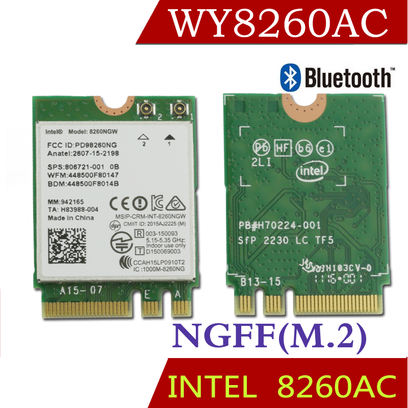 Winyao WY8260AC NGFF Dual Band Wlan Card w/ Intel Wireless-AC 8260 8260NGW 2x2 WIFI 802.11ac 300Mbps 867Mbps Wi-Fi Bluetooth 4.2