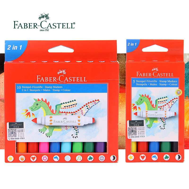 купить Faber Castell 5/10 Colors Fibre-Tip Watercolor Marker Pen 2 In 1: Stamp and Color Washable Non-Toxic For Drawing For Kids по цене 1066.46 рублей