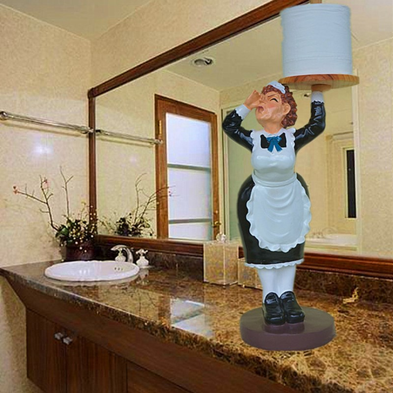 Creative Resin Servant Sculpture Toilets Paper Dispenser Decor Crafts Accessories Furnishing Supplies for Wash Room L3202Creative Resin Servant Sculpture Toilets Paper Dispenser Decor Crafts Accessories Furnishing Supplies for Wash Room L3202