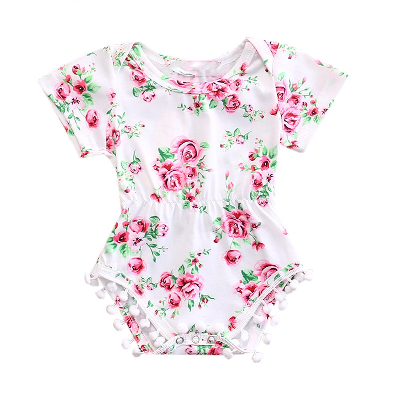 В народном стиле для новорожденных для маленьких девочек хлопковый комбинезон Цветочный комплект одежды 0-24 м