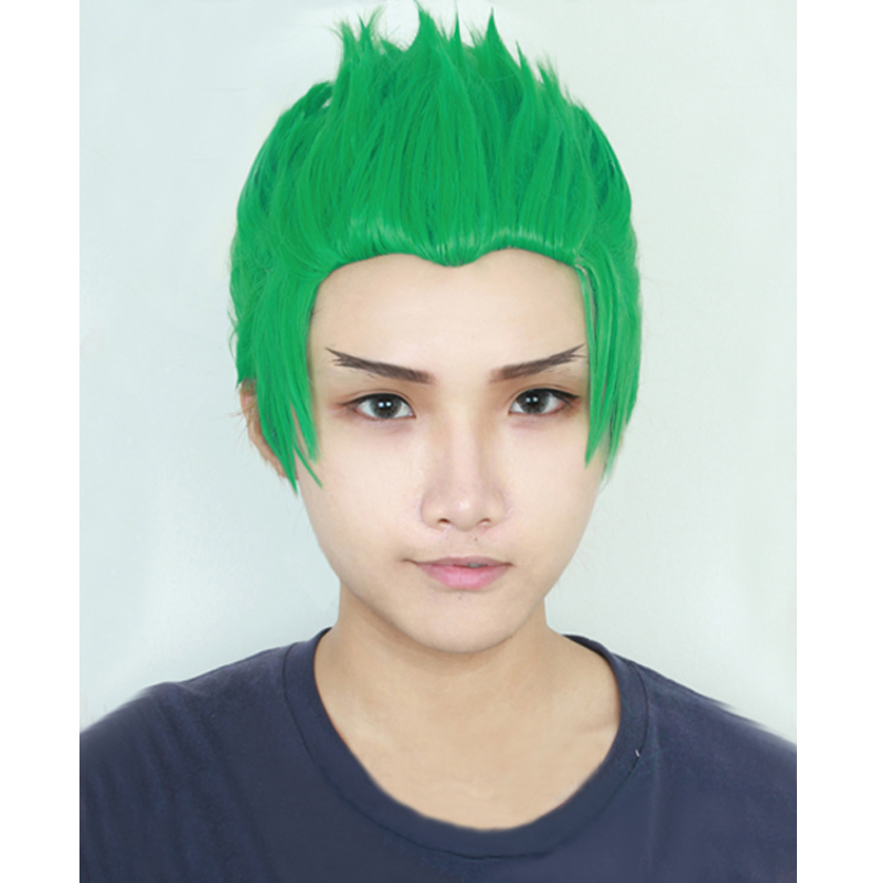 OW Game Overwatch Genji Short Straight Green Synthetic Cosplay Wig For Halloween Costume + Wig Cap