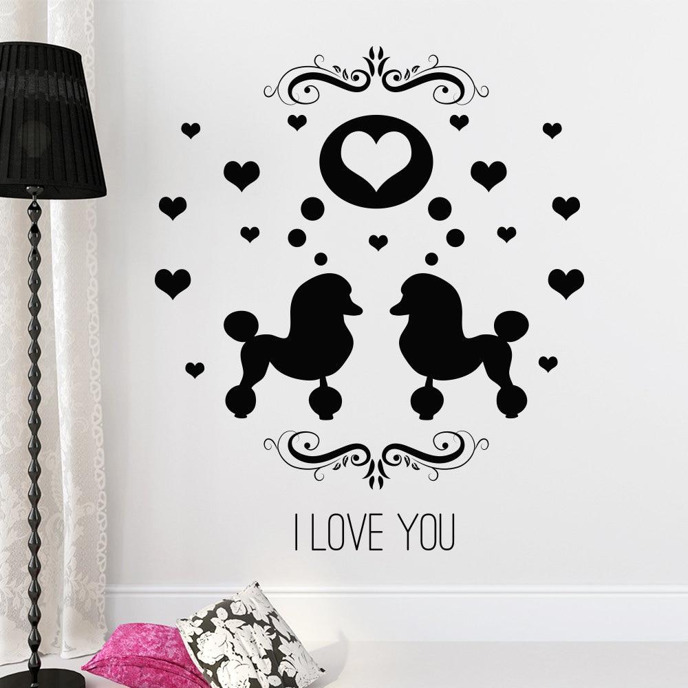 ツ)_/¯Doble Perros silueta pared corazones patrón Home Sweet Home ...