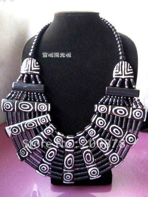 TNL495 Real joyas Tibetano 2016 BOHO de la moda Étnica collar grande Collar de hueso de yak del Tíbet Gran Fan