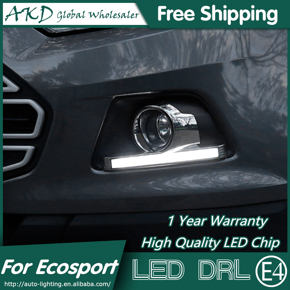 AKD Car Styling LED Fog Lamp for Ford Ecosport DRL 2014-2015 COB DRL Running Light Fog Light Parking Accessories akd car styling for ford fiesta drl 2013 2014 cob signal drl led fog lamp daytime running light fog light parking accessories