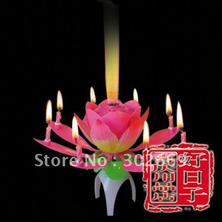 Lotus Birthday Candles Non Rotating Sparkling Music Candles Flower