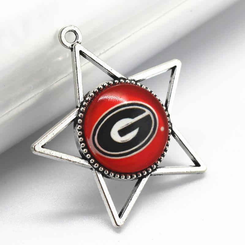 12pcs NCAA Georgia Bulldogs Team Star Dangle Charms Pendant Jewelry Charm Football Sport DIY Necklace Pendants Charms ...
