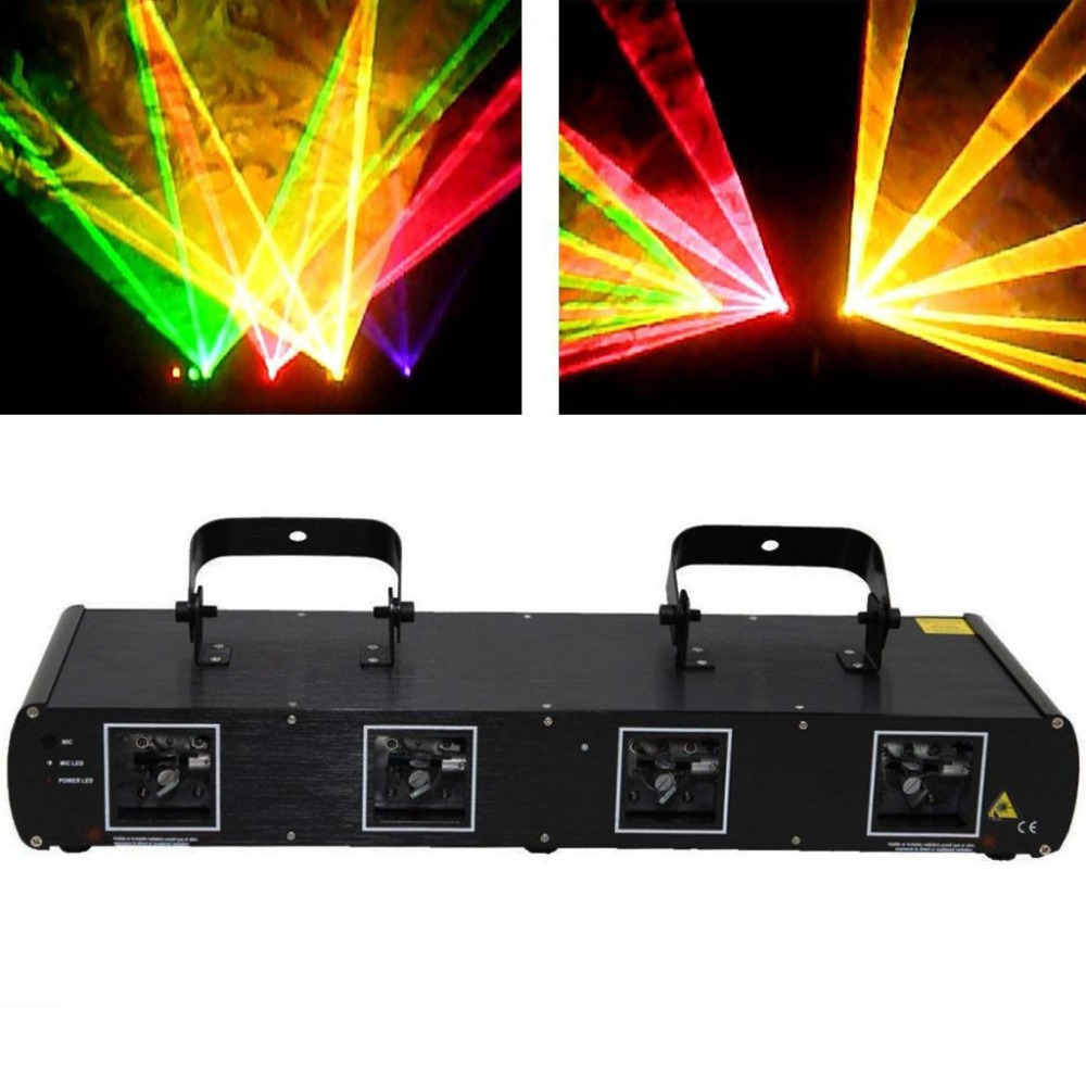 Stage Lighting Laser Light Green Red Blue Yellow 560MW Four Lens DMX512 for DJ Club Disco Home Garden Xmas Birthday Party Effect oumily fashion yellow plated revo resin lens reflective sunglasses light green black