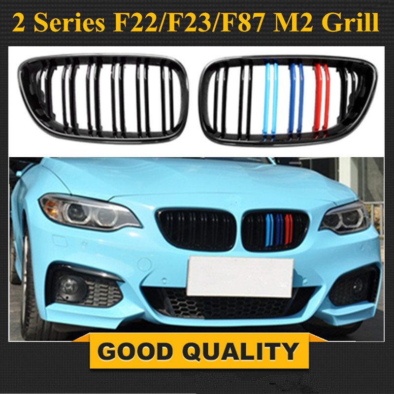 F22 M2 Look Grille Replacement Front Bumper Grill Racing Grills For BMW 2 Series F22 M235i 218i 220i 2014 2015 M Colour image