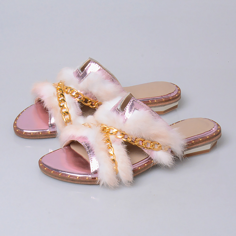 pink Antidérapant Pantoufles Mode Gold Qualité De Fond Mou Épais sliver Femme Véritable Lapin Perfetto En Haute Plat Cuir Prova 2018 Fourrure awUzHH8q