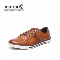 Fashion sneakers Men leather brown black casual shoes male artificial leather trainers lace up breathable Vulcanized shoes