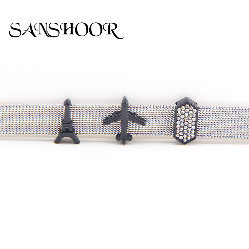 SANSHOOR Black iron tower & airplane Slide Charms fit 10mm wide Stainless Steel Mesh Keeper Bracelets Accessories Making image