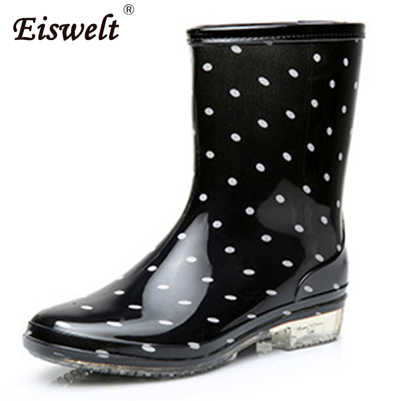 EISWELT 2017 Women Fashion Elastic Dots Solid Rain Boots Waterproof Women Mid-calf Boots Rubber Low Heel Shoes#ZQS141 hellozebra women rain boots waterproof fashion rubber elastic band solid color raining day shoes low heel 2017 autumn new