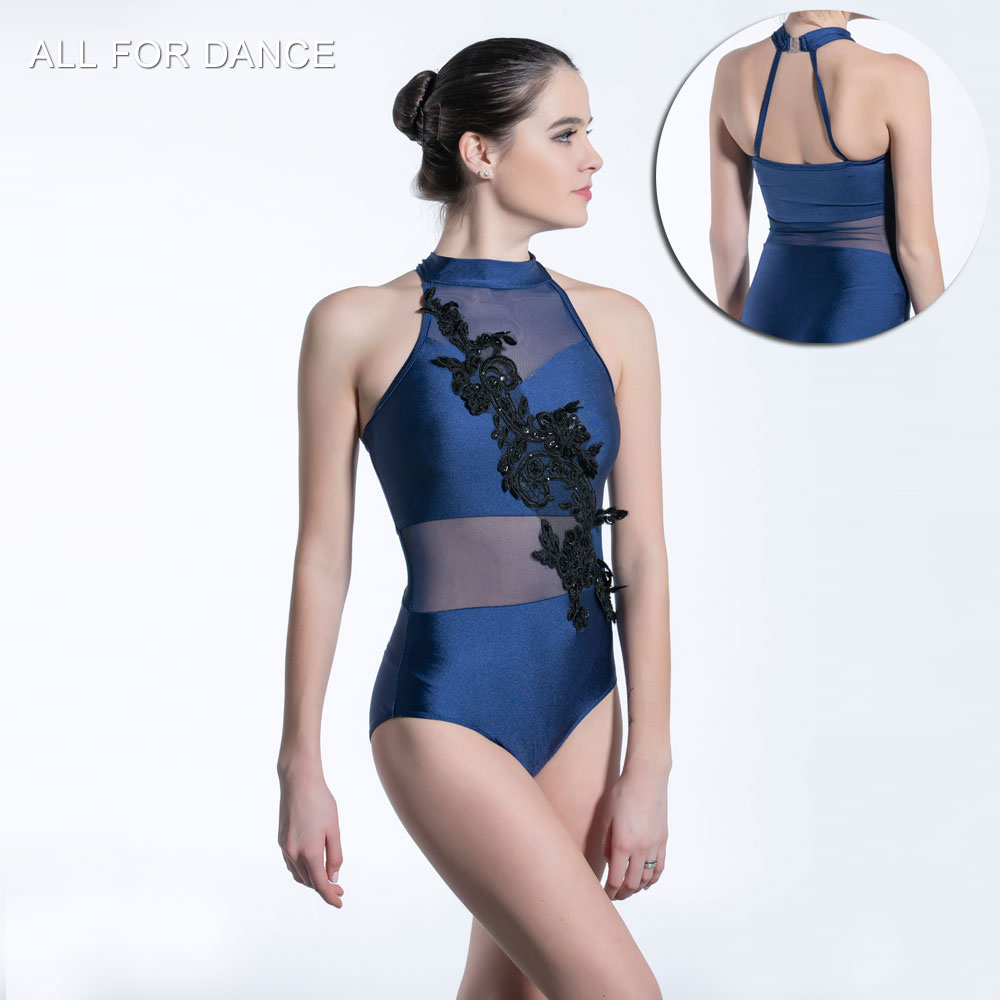 Halter neck Ballet spandex & mesh ballet leotard performance stage dance costumes dancewear lyrical dancewear costumes image
