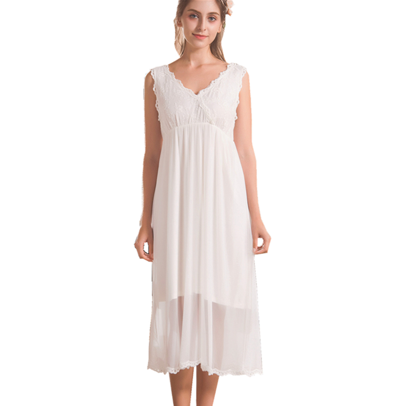 Sexy Cotton Nightgowns Women Casual V-neck Sleeveless Nightdress Princess Sleepwear Home Dress White Long Mid-Calf Nightwear ...