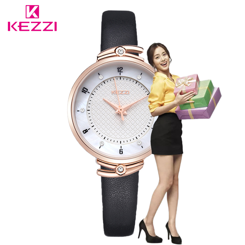 KEZZI Small Strap Leather Round Dial Quartz Women Watch Famous Luxury Brand 2017 Simple Casual Lady Wrist Watches Female Fashion classic simple star women watch men top famous luxury brand quartz watch leather student watches for loves relogio feminino