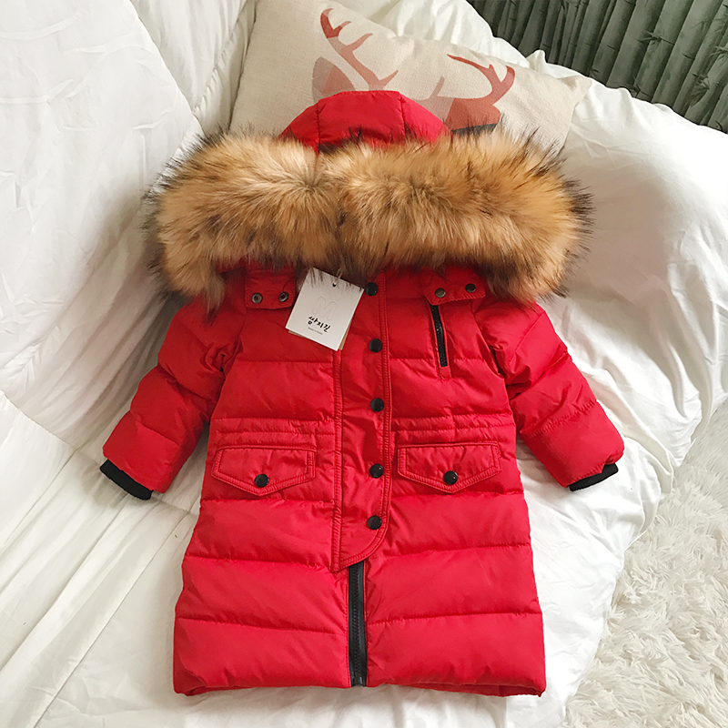 2-14Y Winter Boys Duck Down Jacket Girls Outerwear Thick Warm Raccoon Fur Hooded Kids Parka Coats -30 degree russia winter boys girls down jacket boy girl warm thick duck down