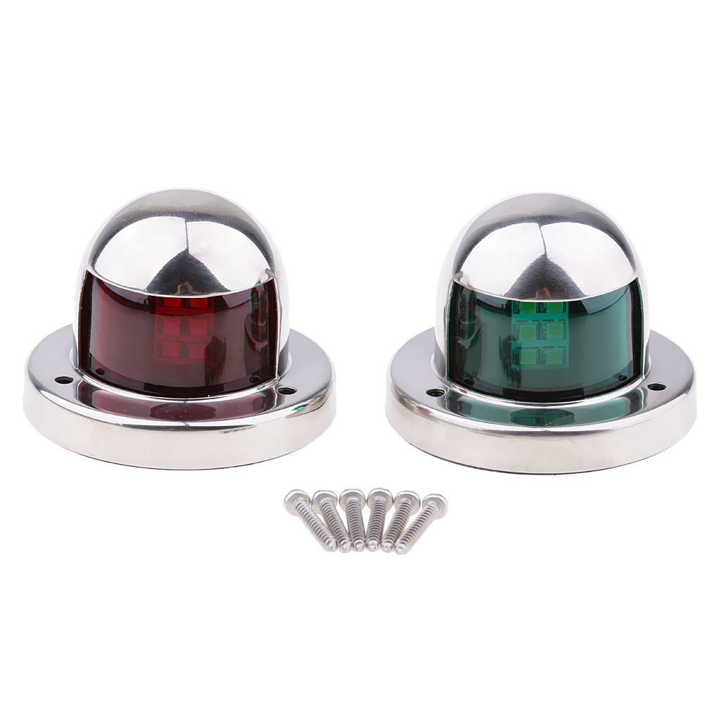 1 Pair Stainless Steel 12V LED Bow Navigation Light Red Green Sailing Signal Light For Marine Boat Yacht Warning Light Boat Part-in Marine Hardware from Automobiles & Motorcycles