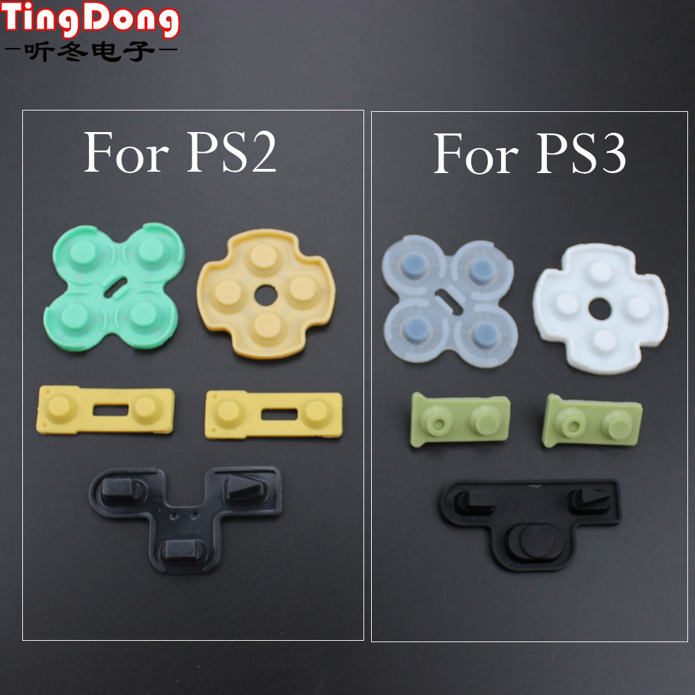 TingDong Replacement Silicone Rubber Conductive Pads Buttons Touches For Playstation 2 Controller PS2 PS3 Repair Parts