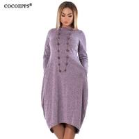 5XL 6XL Loose Casual Women Dress Big Sizes New 2017 Autumn Winter Plus Size Long Dress