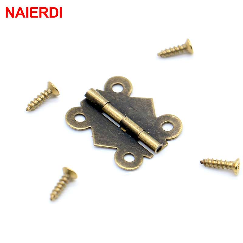 10pcs NAIERDI 20mm x17mm Bronze Gold Silver Mini Butterfly Door Hinges Cabinet Drawer Jewellery Box Hinge For Furniture Hardware
