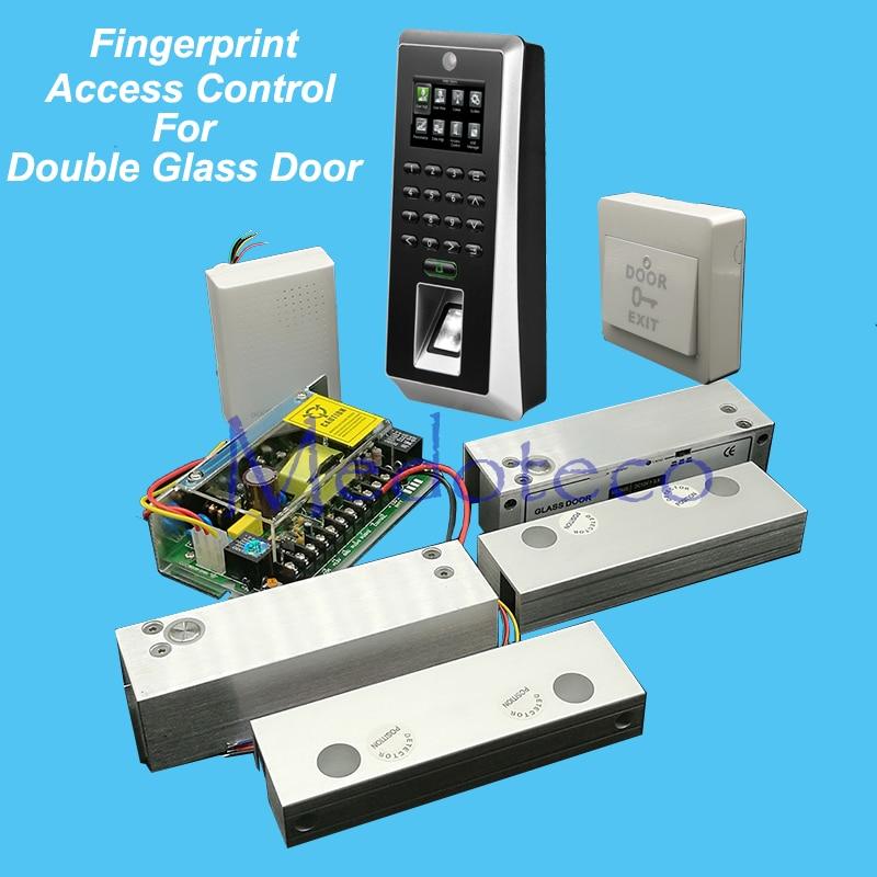 Full Fingerprint Access Control System Kit Double Frameless Glass Door Access Control Set+Power Supply+Eletric Bolt Lock F20 biometric fingerprint access controller tcp ip fingerprint door access control reader