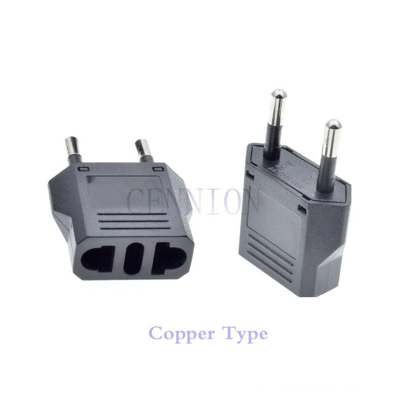 Copper CH IT US AU DE To EU Euro AC Power Plug Travel Adapter Converter 100pcs Small Parcel Way