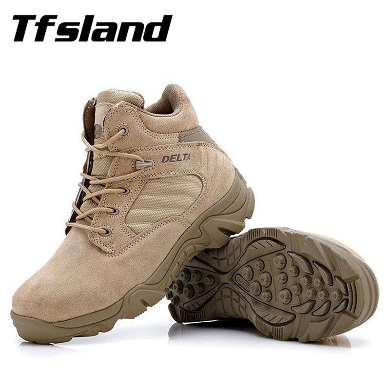 2018 Men Winter Military Tactical Boots Outdoor Army Travel Hiking Shoes for Men Leather Ankle Desert Combat Snow Boots Sneakers