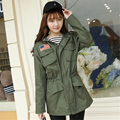 2016 autumn casual patchwork embroidery baseball coat jacket women plus size army green cardigan hooded windbreaker
