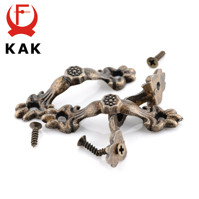 KAK 10pcs Box Handle 43*10MM Zinc Alloy Knob Tracery Bronze Tone Antique Pulls For Drawer Wooden Jewelry Box Furniture Hardware 120cm replacement metal chain for shoulder bags handle crossbody handbag antique bronze tone diy bag strap accessories hardware