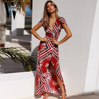 WYHHCJ 2018 V Neck Women Summer Dress Short Sleeve Fashion Print Long Beach Dress Sides Split