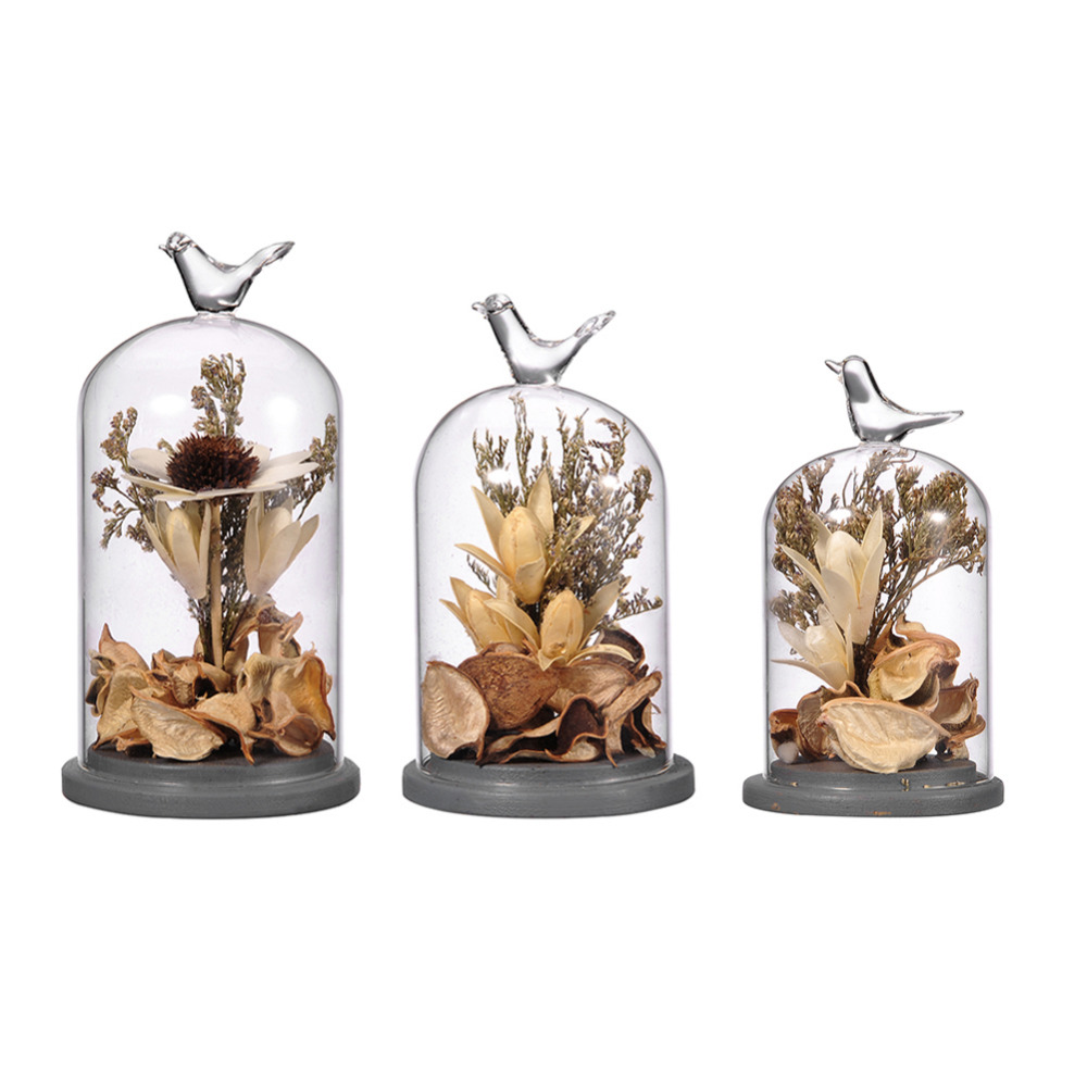 Dried flowers creative terrarium vase with vivid birds for Home decorations gifts