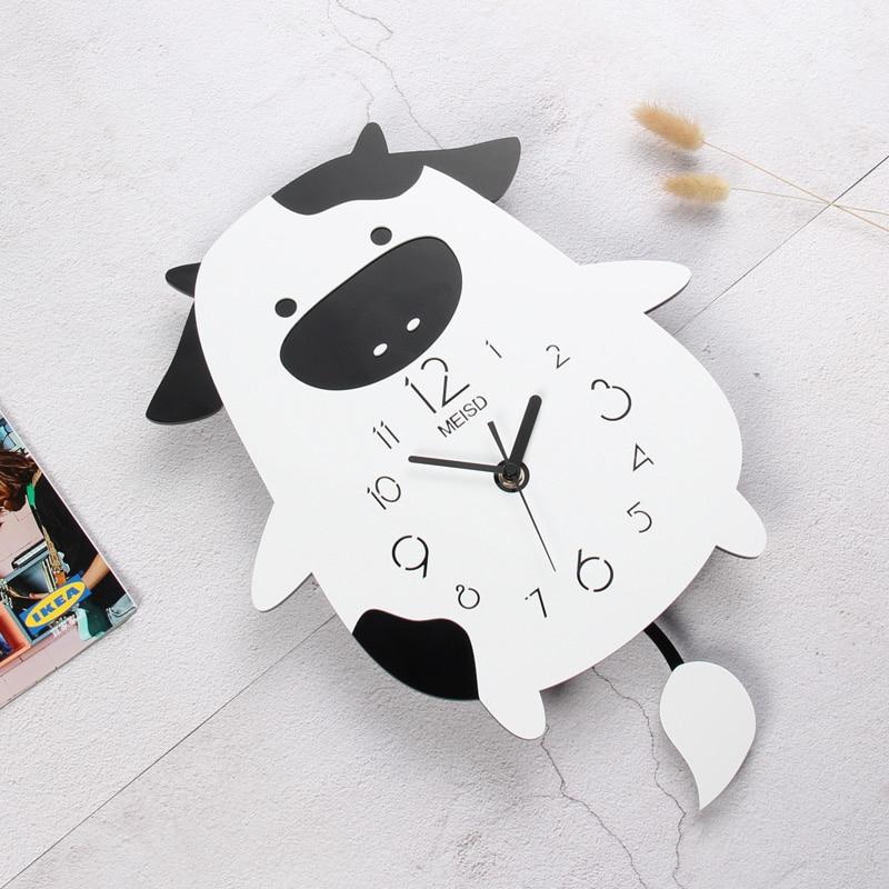 New MEISD Cute Animal Lovely Cartoon Cow Wall Clock Modern Design Kid Room Childlike Swingable Clocks Home Decor Free Shipping